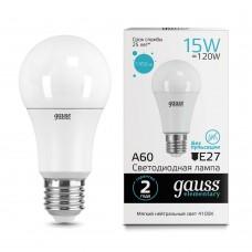 Лампа светодиодная A60 15Вт 4100K 1450Лм Е27 Gauss Еlementary
