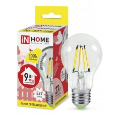 Лампа светодиодная A60 deco 9Вт 3000К 860Лм Е27 прозрачная IN HOME