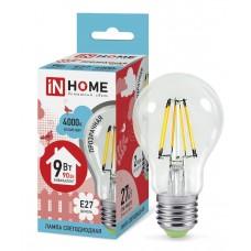Лампа светодиодная A60 deco 9Вт 4000К 860Лм Е27 прозрачная IN HOME