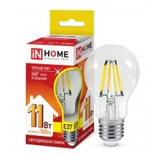 Лампа светодиодная A60 deco 11Вт 3000К 990Лм Е27 прозрачная IN HOME