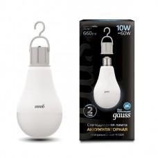 Лампа светодиодная A60 10Вт E27 660лм 4100K с Li-Ion аккумулятором Gauss