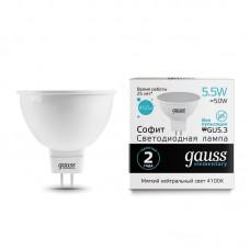 Лампа светодиодная MR16 5,5Вт 180-240В 4100К 450Лм GU5.3 мат.рас-ль Gauss Еlementary