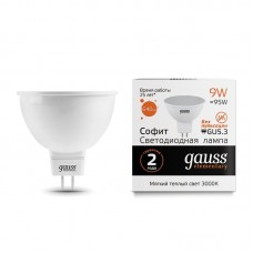 Лампа светодиодная MR16 9Вт 180-240В 3000K 640Лм GU5.3 мат.рас-ль Gauss Еlementary