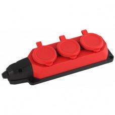 Каучук колодка 3гн з/к  16A IP44 красная K-3e-RED-IP44  ЭРА Б0044552