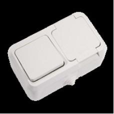 Блок выключатель 1 кл + розетка с крышкой MAKEL IP44