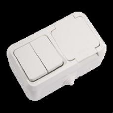 Блок выключатель 2 кл + розетка с крышкой MAKEL IP44