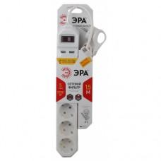 Сетевой фильтр ЭРА  5гн.+ 2USB 1,5м з/к с выкл. белый